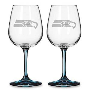 Satin Etched NFL Seattle Seahawks Wine Glasses at Bed Bath & Beyond