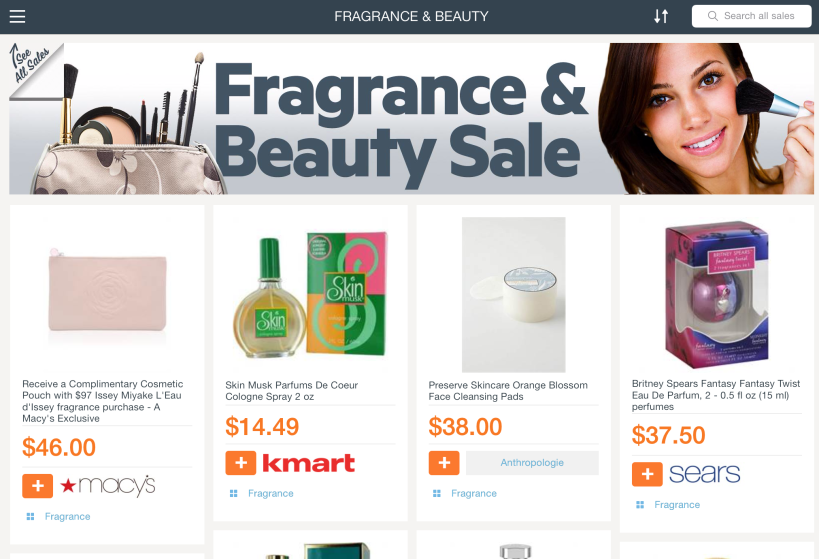Fragrance & Beauty Sale featured on Find&Save for iPad this week.