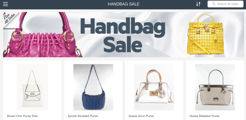 Handbag sale, currently featured on Find&Save for iPad