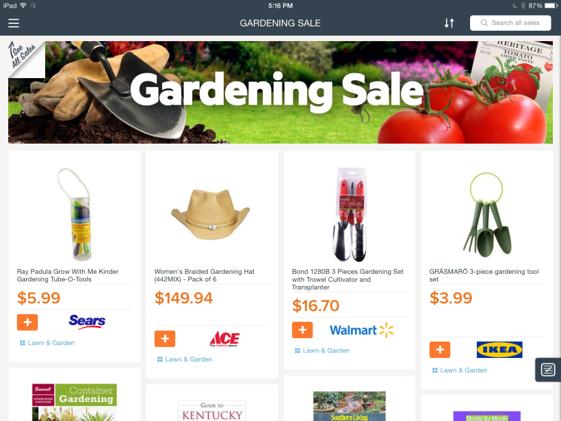 Gardening sales are currently featured on Find&Save for iPad